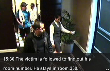 Screen shot of CCTV footage showing Mahmoud al-Mabhouh exits the lift, followed by suspected members of the hit team 