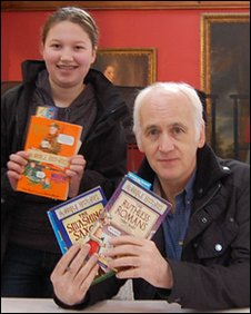 Author Terry Deary and a fan
