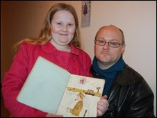 Barrie Churchill and his daughter from Poole, with the WWI book