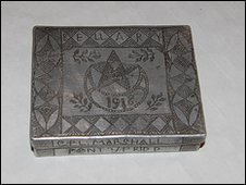 A cigarette box made in 1918 and now owned by Hilary Starr from Weymouth