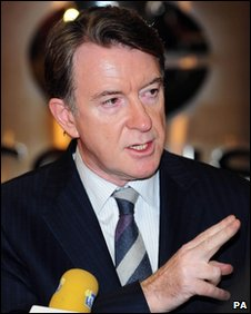 Lord mandelson at Corus