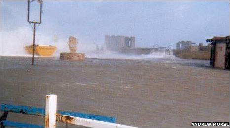 Floods on Prestatyn sea front, February 2000