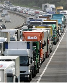 Heavy traffic on the M4 near Bristol