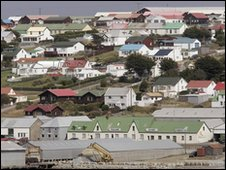 Stanley skyline  in the Falkland Islands