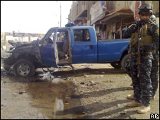 The site of a suicide car bombing in Ramadi
