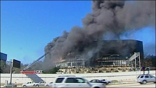 Austin office block in flames
