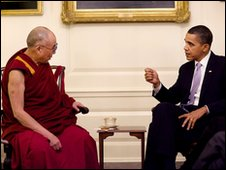 The Dalai Lama (L) and US President Barack Obama at the White House Map Room - 18 February 2010