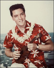 Elvis Presley with ukelele
