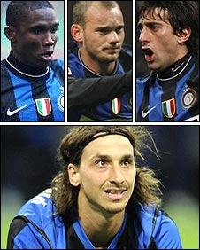 Samuel Eto'o, Wesley Sneijder and Diego Milito have replaced Zlatan Ibrahimovic at Inter