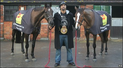 David Haye with (l) Denman and Kauto Star