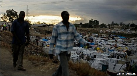 A makeshift camp in Haiti