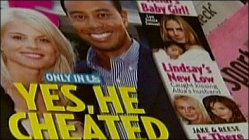 Tiger Woods features in a magazine headline