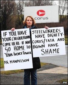 Linda Robinson demonstrates outside Corus