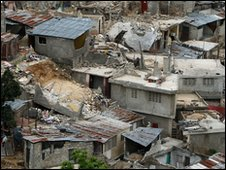Ruined buildings in afermath of Haiti earthquake