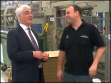 Alistair Darling in Spennymoor's Thorn Lighting factory