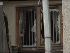 Windows at the back of the property were damaged in the attack