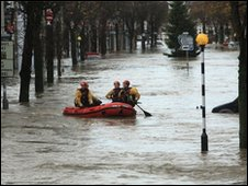 Rescuers in Cockermouth in November