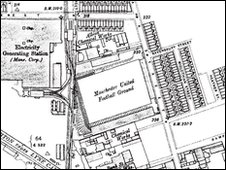 Map showing the Bank Street Stadium