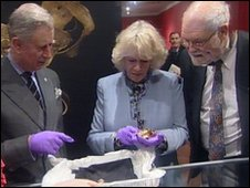 Prince Charles and Camilla inspect the Staffordshire Hoard gold at the Potteries Museum & Art Gallery