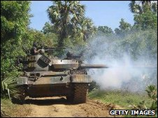 Sri Lnkan forces in a tank fighting in the north