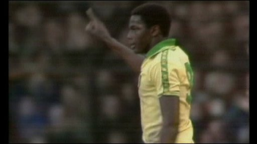 Justin Fashanu playing for Norwich City