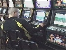 Still from police video of Moscow gambling site