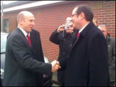Housing Minister John Healey in Chilton with Phil Wilson