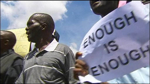 Kenyans protesting on streets of Nairobi