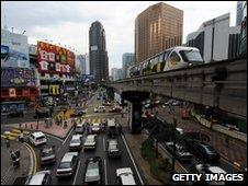 A monorail approaches Bukit Binting station in Kuala Lumpur