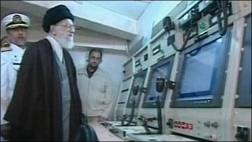 Ayatollah Ali Khamenei on board Iran's first home-built destroyer