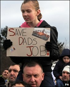 Rally outside Corus plant in redcar