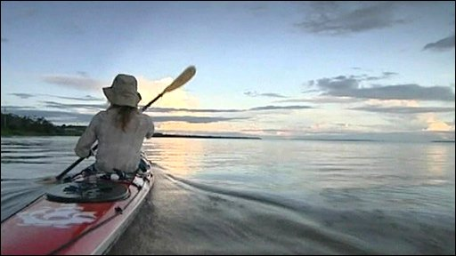 Blue Peter presenter Helen Skelton on her kayak