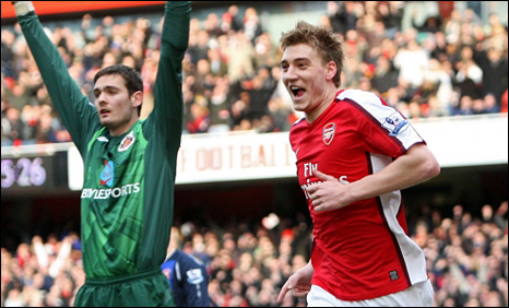 Nicklas Bendtner celebrates after putting Arsenal ahead