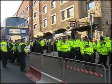 Police outside Jenny Ha's bar in Edinburgh