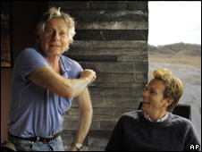 Roman Polanski and Ewan McGregor on the set of The Ghost Writer (2009)