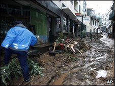 Debris left behind in Funchal by the flash floods