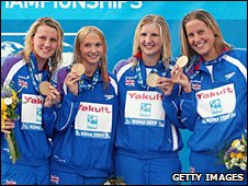 Britain's 4x200m freestyle relay team with bronze medals in Rome