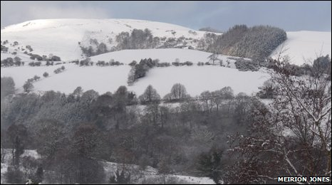The scene at Llanbrynmair, Powys on Sunday morning