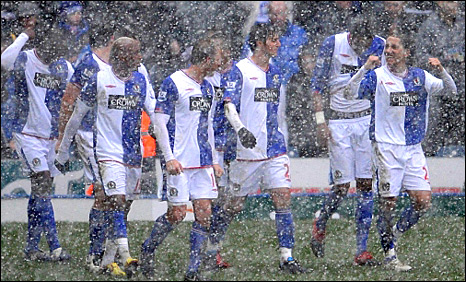Blackburn celebrate in the snow