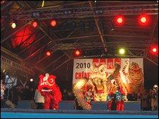 A dragon performance in Trafalgar Square