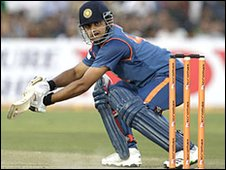Suresh Raina plays a late cut at Jaipur
