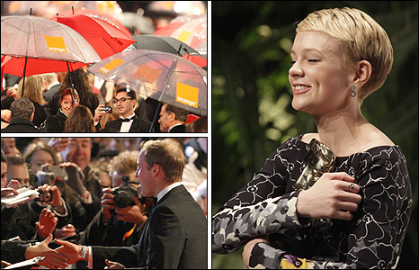 Rain, Prince William and best actress Carey Mulligan. PA/AP pics