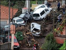 Damaged cars in Madeira after the flood