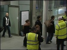 Delayed passengers arrive at St Pancras