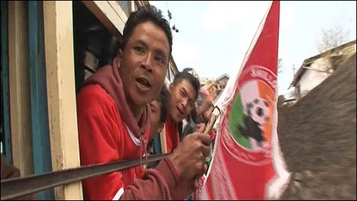 A supporter of the Indian's football club Shillong LaJong