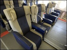Business class seats in an Airbus A380