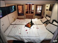 Interior view of Suite Class on the new Singapore Airlines Airbus A380 jumbo