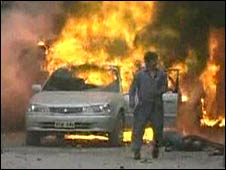 Flames after blast in Mingora, 22 February