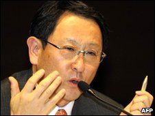 Japan's auto giant Toyota Motor president Akio Toyoda speaks during a press conference