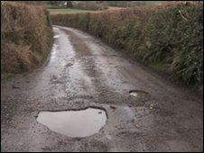 Pothole in lane in Dalwood